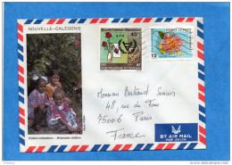 MARCOPHILIE- Lettre-NLLE CALEDONIE Cad 1982 - 2-stamps427 Fleur+451 Handicap-pour  Françe - Briefe U. Dokumente