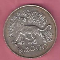 INDONESIE  2000 RUP. 1974 SILVER UNC WWF JAVAN TIGER - Indonésie