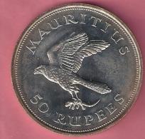 MAURITIUS 50 RUPEES 1975 SILVER UNC WWF KESTREL - Maurice