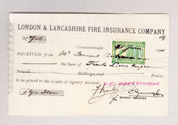 Türkei 21.6.1915 Fiscalmarke 1 Para Auf Brandversicherungs-Beleg - 1921-... République