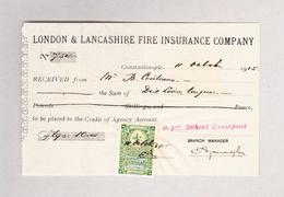 Türkei 11.10.1915 Fiscalmarke 1 Para Auf Brandversicherungs-Beleg - 1921-... République