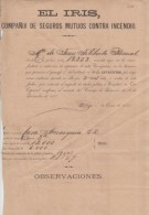 """E487 CUBA SPAIN ESPAÑA OLD DOC INSURANCE """"EL IRIS"""" POLIZA 1884. POLIZA DE SEGUROS CONTRA INCENDIOS - Shareholdings"""