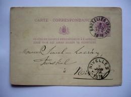 BELGIQUE - CARTE-CORRESPONDANCE  AVEC ENTIER POSTAL De  BRUXELLES 1878  Pour NIVELLES - Entiers Postaux