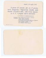 AGNANO TERME ( NAPOLI ) ESPOSIZIONE SOCIETA ITALICA ARS - INVITO 1913 - Announcements