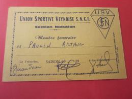 CARTE MEMBRE HONORAIRE USV UNION SPORTIVE VEYNOISE S.N.C.F.société Nationale Chemins De Fer Françai SECTION NATATION - Swimming