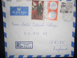 Chypre Lettre Recommande De Nicosia 1977 Pour Jersey - Cyprus (Republic)