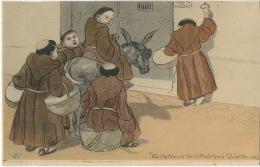 Le Retour Des Frères Queteurs Sur Un Ane . Moines Mendiants Rentant Au Couvent. Monks On A Donkey Beggars - Christianisme