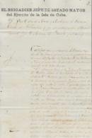 """E822 CUBA SPAIN ESPAÑA BAPTISM CERTIFICATE OF ARMY """"ESTADO MAYOR EJERCITO"""" 1866 - Documentos Históricos"""