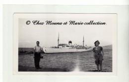 1938 - CORSE - LE NAVIRE ILE DE BEAUTE DANS LE PORT DE L ILE ROUSSE - PAQUEBOT BATEAU - PHOTO 12 X 7 CM - Bateaux