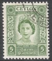 Ceylon. 1953 QEII Coronation. 5c Used. SG 433 - Sri Lanka (Ceylon) (1948-...)