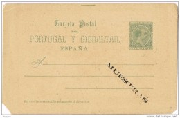19017. Entero Postal Alfonso XIII Pelon, Habilitacion MUESTRAS, Num 25cM **