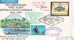 Norfolk 1976 - 50th Anniversary Flight Australia Pacific + Vignette - Norfolk Island