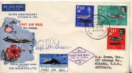 Suva Fiji Fidji 1964 To Tonga - 25th Anniversary Flight  + Vignette - Fiji (1970-...)