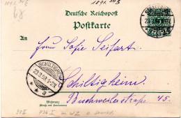 DR Amtl. Ganzsachen-Postkarte 5 (Pfg) Grün, TSt STRASSBURG 23.3.98 Gel. Nach SCHILTIGHEIM - Postwaardestukken