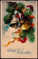 6017 - Alte Glückwunschkarte - Weihnachten Tannenzweig Glocken - Amag - Gel 1928 - Non Classificati