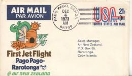 Pago Pago Samoa To Rarotonga Cook 1973 - First Jet Flight Erstflug 1er Vol - Air New Zealand - Samoa Américaine