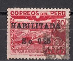 C108 Peru 1951 Dam. Ica River Overprint Surcharged HABILITADA  Viaggiato Used - Peru