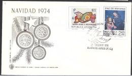 ARGENTINA   1974 NAVIDAD CHRISTMAS 2 STAMPS - FDC