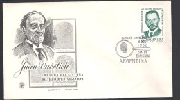 ARGENTINA  1962JUAN VUCETICH CREADOR DEL SISTEMA DACTILOSCOPICO ARGENTINO - FDC