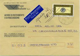 A341 2000 Avviso Di Ricevimento Con 1200 Lire / 0,62€ Posta Prioritaria -Timbro: Regolarizzato D'ufficio - 6. 1946-.. Republic