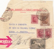 FRAGMENT LETTRE URUGUAY. PART COVER 2-10-1934 MONTEVIDEO VIA CONDOR GRAF ZEPPELIN FRANCIA PARIS  / 7794 - Uruguay