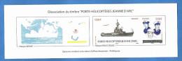 France - Dissociation Du Timbre Porte Hélicoptères Jeanne D´Arc - Epreuves Couleurs Sans Valeur D´affranchissement . - Documents De La Poste