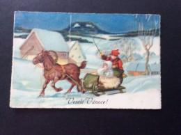 AK Feiern & Feste > Weihnachten Kinder Auf Dem Pferd Schlitten ANSICHTSKARTEN 1935 - Weihnachten