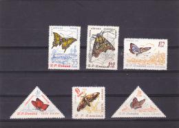 #139   BUTTERFLIES, INSECTS, DIFFERENT SPECIES, 6X STAMPS  Mi.1918/23,   1960, MNH**, ROMANIA. - 1948-.... Républiques