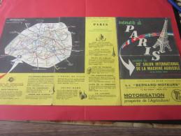 Dépliant Publicitaire VENEZ A PARIS Au 25é SALON INTERNATIONAL DE LA MACHINE AGRICOLE-PLANS VISITEUR & DE RESEAUX METRO - Publicités