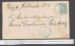 Russland Russia 1889 Ganzsache Postal Stationery KURLAND Jakobstadt Nach Lettland Riga - Stamped Stationery