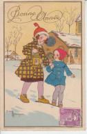 Illustrateur Gaston MARECHAUX - Bonne Année Fillettes Avec Lanterne  PRIX FIXE - Illustratori & Fotografie