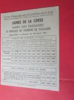 Dépliant Publicité CORSE CORSICA -Plans De Réseaux -Schémas De Lignes Transports Maritime HORAIRES CAR-FERRIES TARIFS - Europe