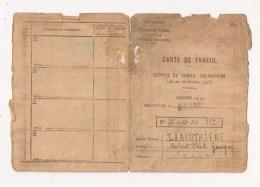 CARTE DE TRAVAIL S T O SERVICE DU TRAVAIL OBLIGATOIRE 1943 - Documents Historiques