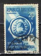 ARGENTINA - 1939 - STEMMA - CONGRESSO DELL'UPU - USATO - Used Stamps