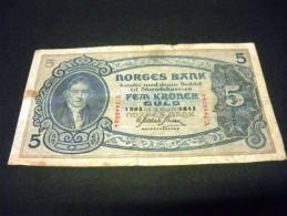 NORVEGE 5 Kroner 1943,1901-1944,pick N° 7 C, NORWAY - Norvège