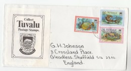 TUVALU COVER  Stamps FISH 25c 5c , SHARK 50c  To GB - Fishes