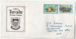 TUVALU COVER  Stamps FISH 30c , SHARK 50c  To GB - Fishes