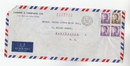 1968 Air Mail HONG KONG COVER Stamps $1  3x 10c To United COTTON MILL Manchester To GB China - Hong Kong (...-1997)