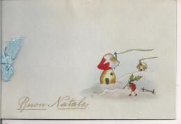 BUON NATALE,1948, BIGLIETTO AUGURI CON FOGLIO INTERNO UNITO CON NASTRO, RR - Xmas