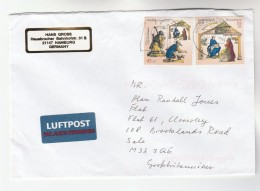 2003 GERMANY COVER Multi CHRISTMAS Stamps RELIGION  CATTLE DONKEY  Cow To GB Airmail Label - Christmas