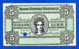 """Italy 5 Lire Campione Specimen Banca Agricola Nazionale 1872 R4 """"Apoca Di Credito"""" Fds- / Unc- - [ 1] …-1946 : Regno"""