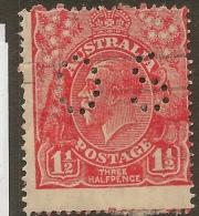AUSTRALIA 1926 1.5d KGV OS Perfin SG O90a U #VO131