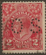 AUSTRALIA 1926 2d KGV OS Perfin SG O104a U #VO135