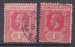 Leeward Islands, GeorgeV, 1912-15, 1d Red, 1d Scarlet, Used - Leeward  Islands