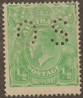 AUSTRALIA 1914 1/2d KGV OS Perfin SG O38 HM #VO266