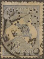 AUSTRALIA 1915 6d Roo OS Perfin SG O46a U #VO263
