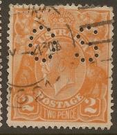 AUSTRALIA 1918 2d KGV OS Perfin SG O71 U #VO123