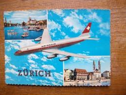 Zürich , Multi-vues Avec Avion De La Swissair - ZH Zurich