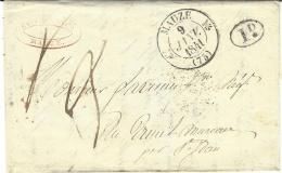 1841- Lettre De MAUZE ( Deux Sèvres ) Cad T12   Taxe 3 D. - Postmark Collection (Covers)