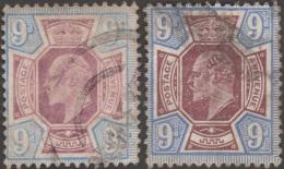 GB 1902 Y&T 115 SG 250 Et 251  Michel 112. Edward VII, 9 P, Les Deux Couleurs - 1902-1951 (Re)